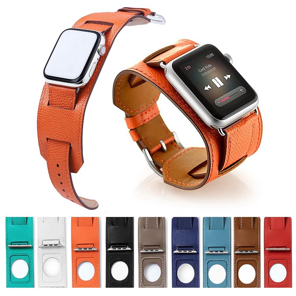 สาย applewatch สายนาฬิกา applewatch Luxury Extra Long Genuine Leather Band Double Tour Bracelet Leather Strap Watchband