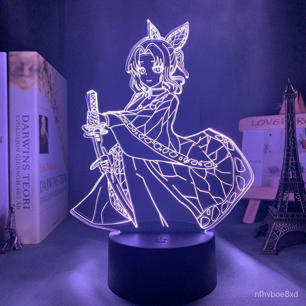 FigureDemon Slayer Anime Night Light Shinobu Kocho Color Changing Touch Remote Bedside Lamp Gift for Demon Slayer Fans B