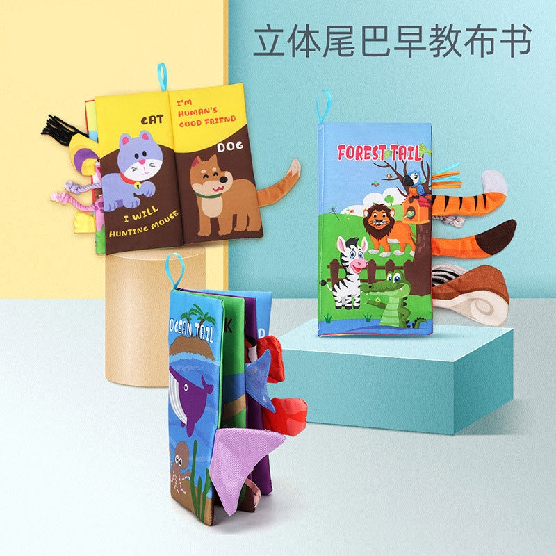 【3SETS】Cloth Book Baby Cloth Books Toys Infant Baby Books Early Development For Kids Learning Education Activity Books Animal Tails Shark