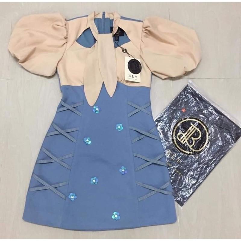 ชุดเดรสเเขนตุ๊กตางานตามหาสวยมาก สีฟ้า BLT SIZE M ผ้าหนา มือ1