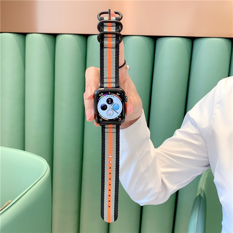 iwatch5 / 4/3/2/1 ที่ใช้งานได้แสดงถึงเทรนด์ของผู้ชายและผู้หญิงด้วย applewatch ผ้าใบลายทาง Applewatch