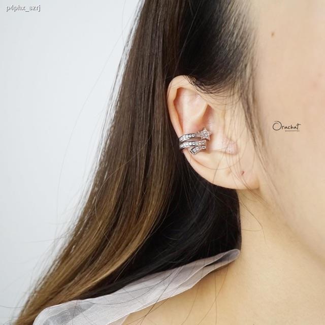ราคาต่ำสุด✴✔Shooting star ear cuff. (ต่างหูแบบเกาะติ่งหู งานชุบทองคำขาว เพชร CZ)