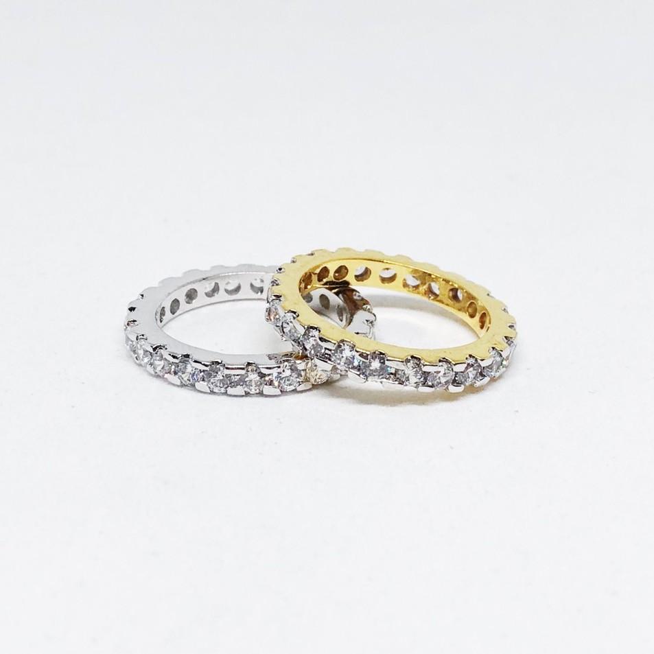 แหวนเฟือง unisex ล้อมเพชร cz ชุบทองไมครอน และทองคำขาว ราคาพิเศษ