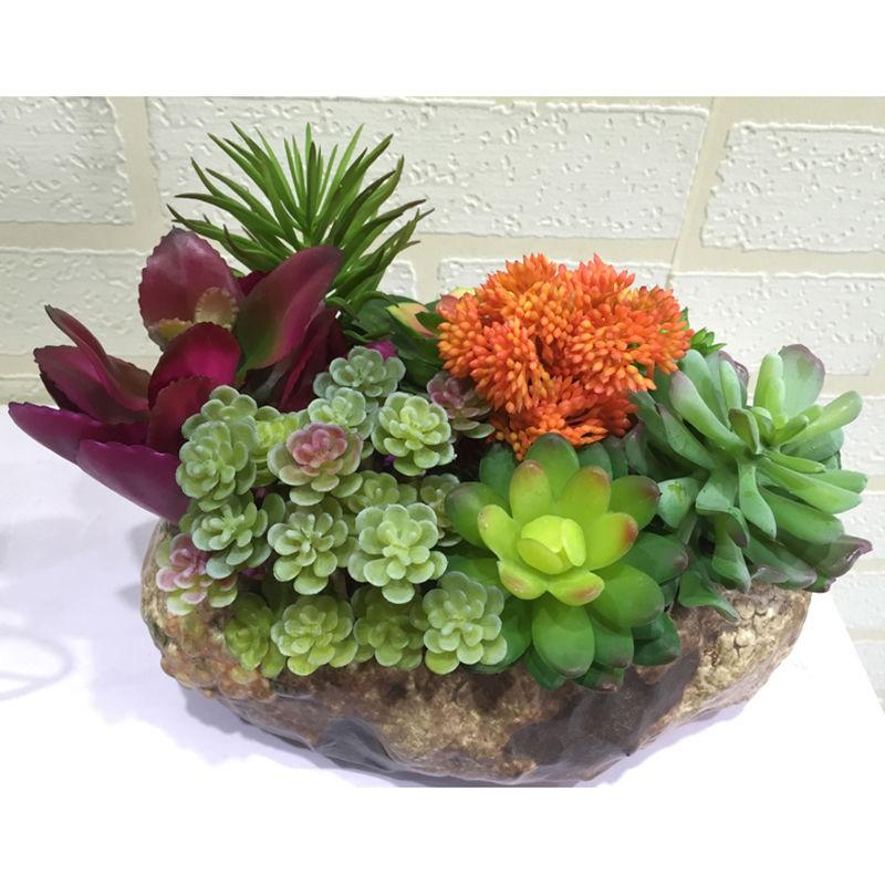 ❡✖การจำลองไม้กระถางอวบน้ำรวมกระถางขนาดเล็กการจำลอง succulents ปลอม succulent เครื่องประดับตกแต่งภูมิทัศน์ไมโครบอนไซขนาด