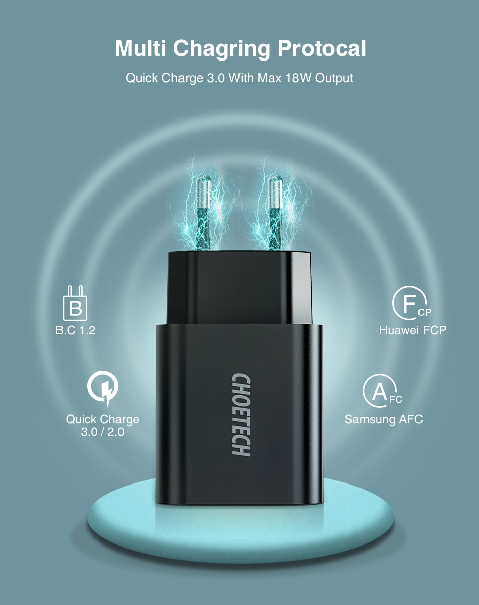 2020 New CHOETECH Quick Charge 3.0 18W USB Wall Charger for Xiaomi IPhone 12 Fast Charger QC3.0 Adapter for Samsung Note