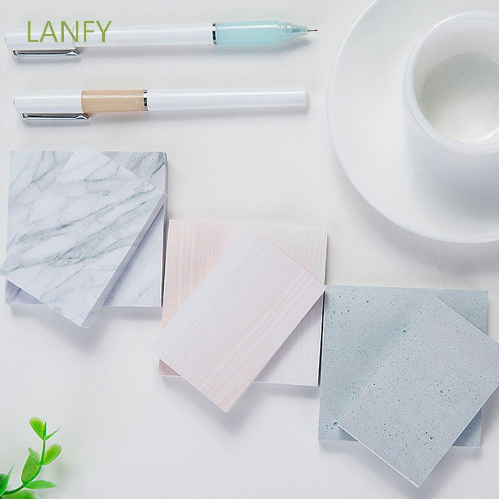 LANFY Plan Memo Pad Stationery Marble Texture Sticky Notes Creative Rectangle Stationary Supplies Square Books Stone Texture Notebook/Multicolor