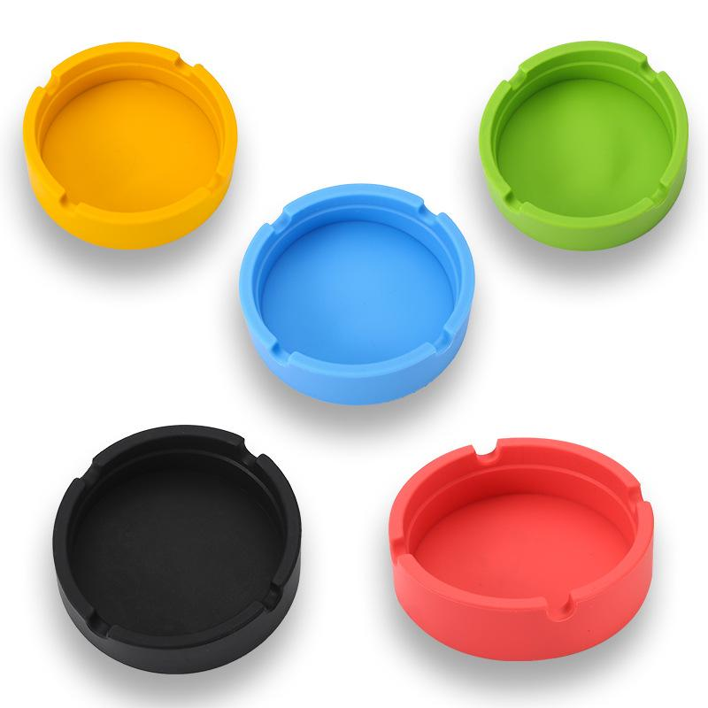 New Silica Gel Circular Ashtray Round Silicone Smoke Cup Holder Custom Made Ashtray Cigarette Tray Holder