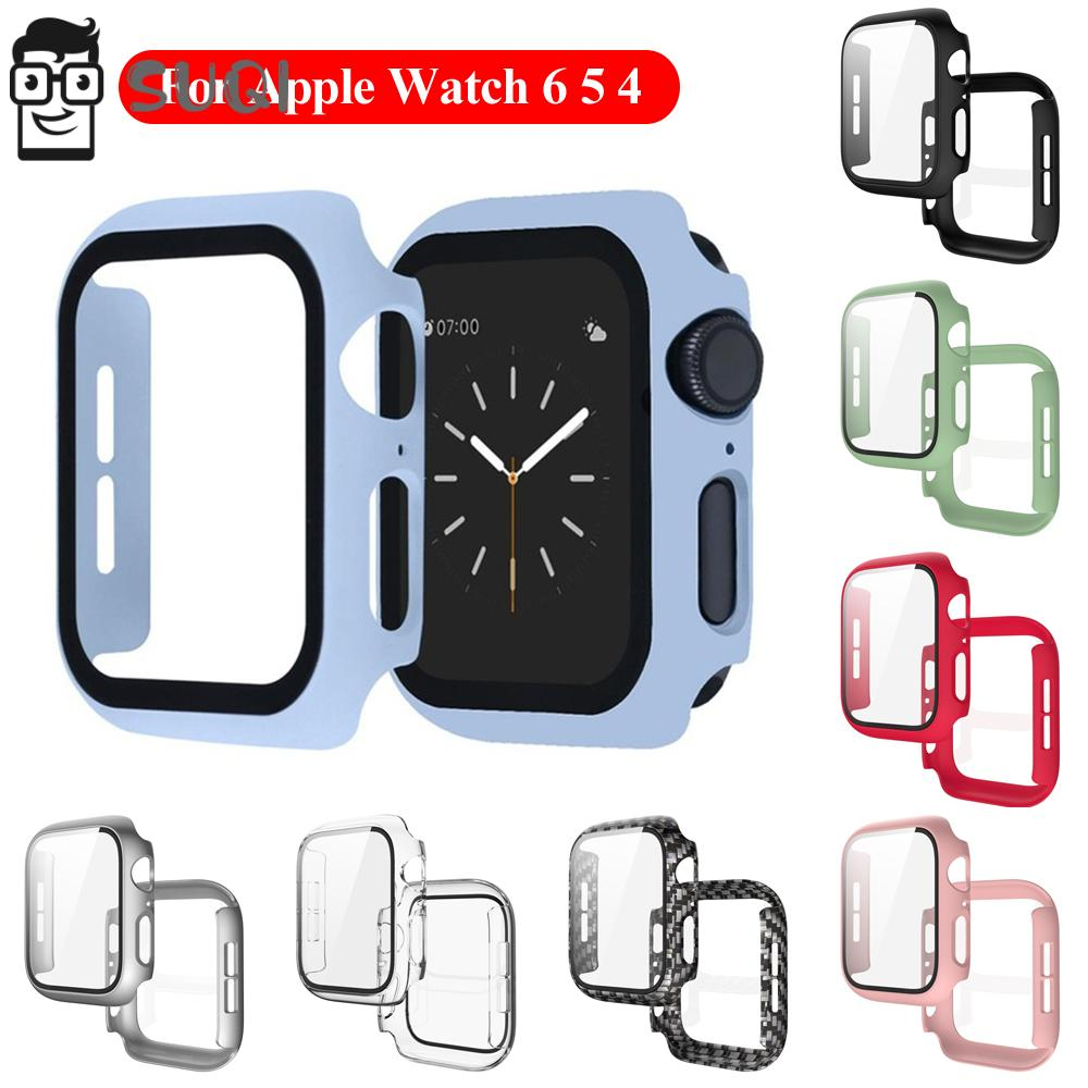 SUQI Tempered Glass Matte PC Case Cover Screen Protector For Apple Watch 6 5 4 40mm 44mm