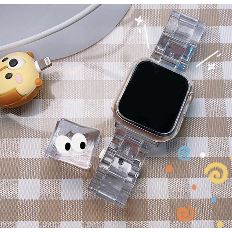 applewatch  สายนาฬิกา  สายapplewatch สายนาฬิกาแฟชั่น สายนาฬิกาApplewatch (พร้อมส่ง) สายลูกปัดเรซินโซ่ใสของ Apple Watch ส