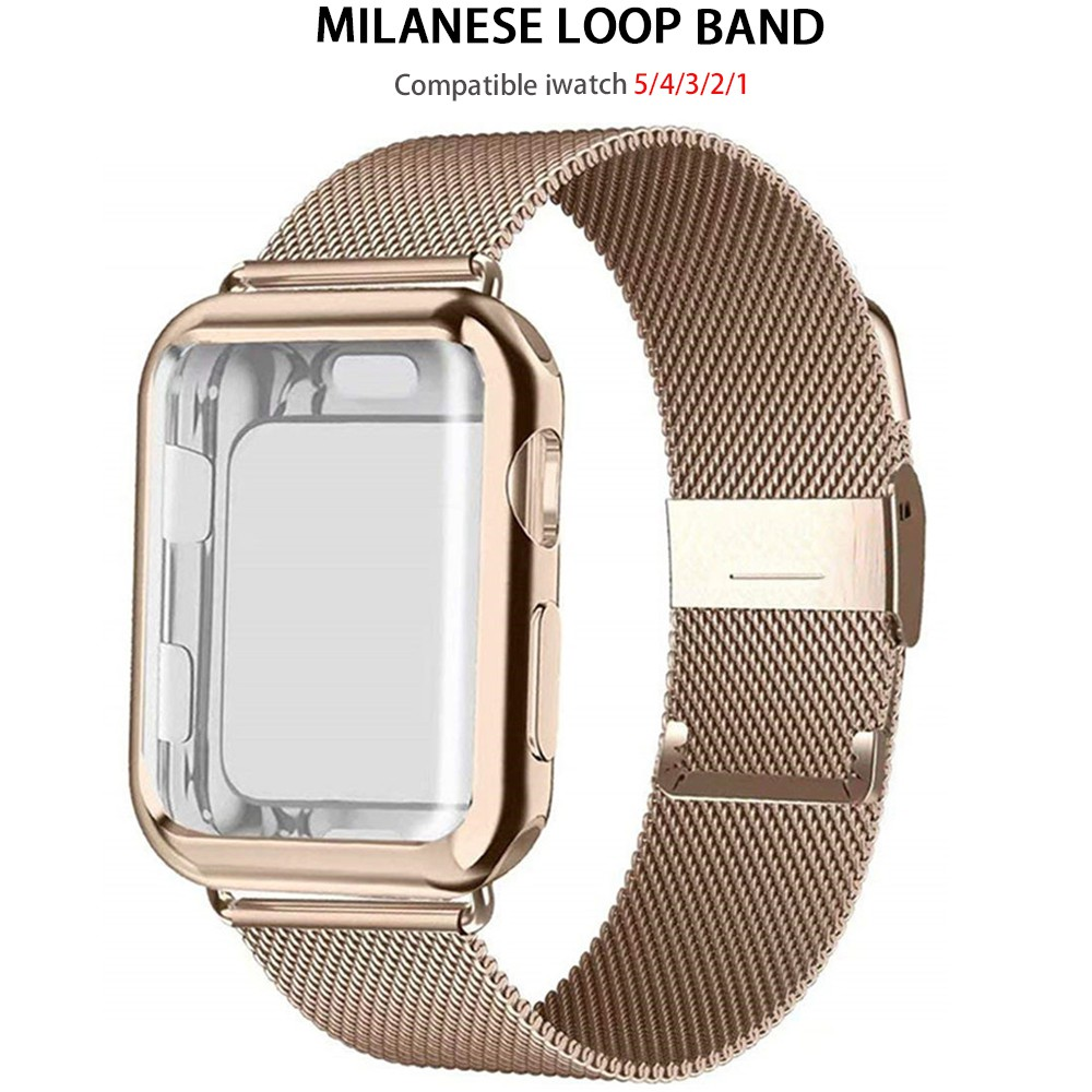 Case+strap for Apple Watch Band 44mm 40mm iWatch 42/38mm Milanese loop Belt smart watchband bracelet applewatch serie 5