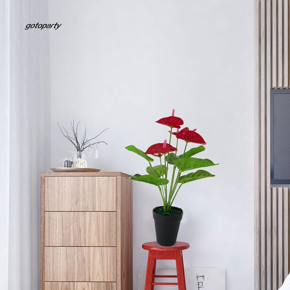 TOGO_1 Pc Artificial Plants Red Anthurium Fake Flowers Lifelike Indoor Decoration