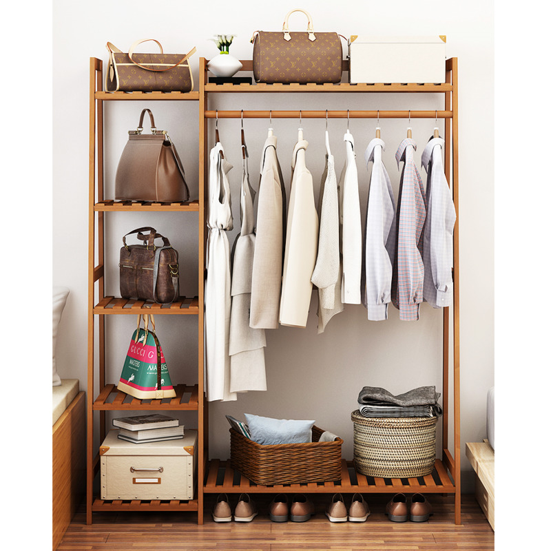 Qinxin Simple Clothes Rack Solid Wood Clothes Rack Cabinet Floor To Floor Bedroom Clothes Rack Rack Rack Simple Modern C Shopee Thailand