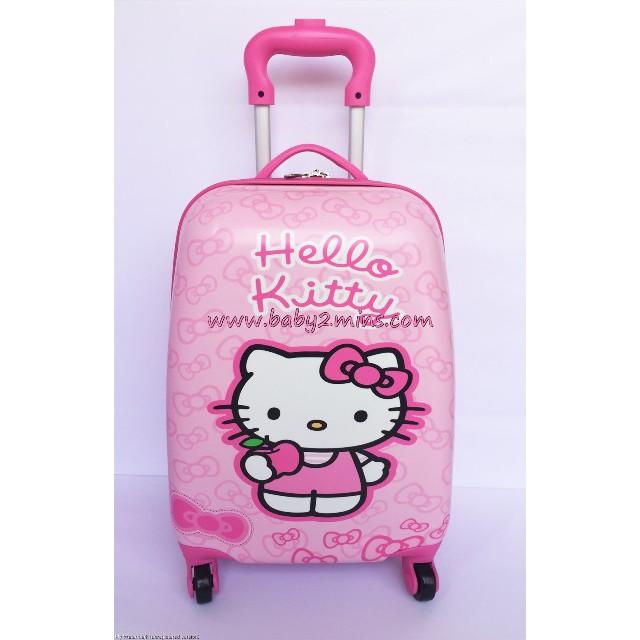 กระเป๋าเดินทาง กระเป๋าล้อลาก ลาย เฮลโล คิตตี้ (Hello Kitty) สีชมพู มีล้อ 4 ล้อ