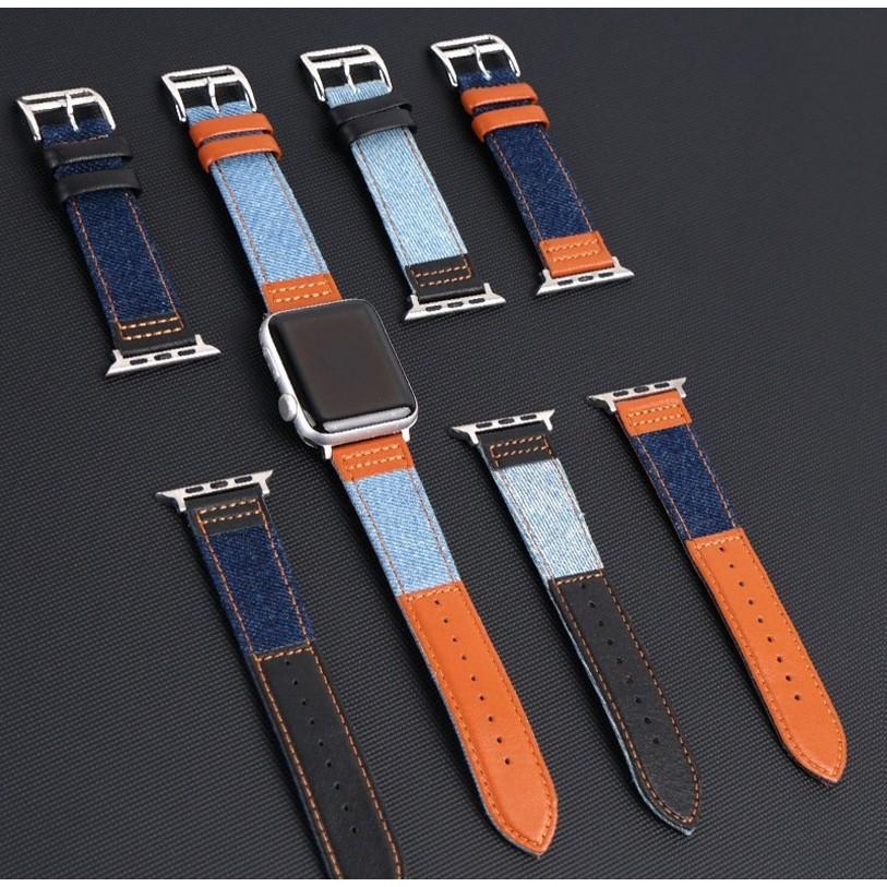 สายนาฬิกา Apple Watch Strap Leather+Denim สาย Applewatch Series 6 5 4 3 2 1,  Apple Watch SE, size 38mm 40mm 42mm 44mm s