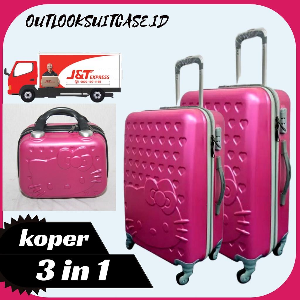 - Hk กระเป๋าเดินทาง (กระเป๋าเดินทาง 3 ช่อง) Abs 24 นิ้ว + 20 นิ้ว Abs + เคส 12 นิ้วไฟเบอร์สีชมพู Fanta