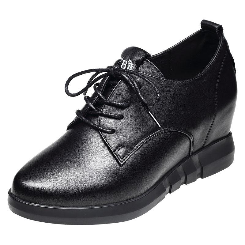 รองเท้าคัชชูส้นเตารีด 2020ฤดูใบไม้ร่วงและฤดูหนาวใหม่เพิ่มขึ้นรองเท้าผู้หญิงลิ่มกับรองเท้าหนังเกาหลีป่าหัวกลมรองเท้าลำลอง