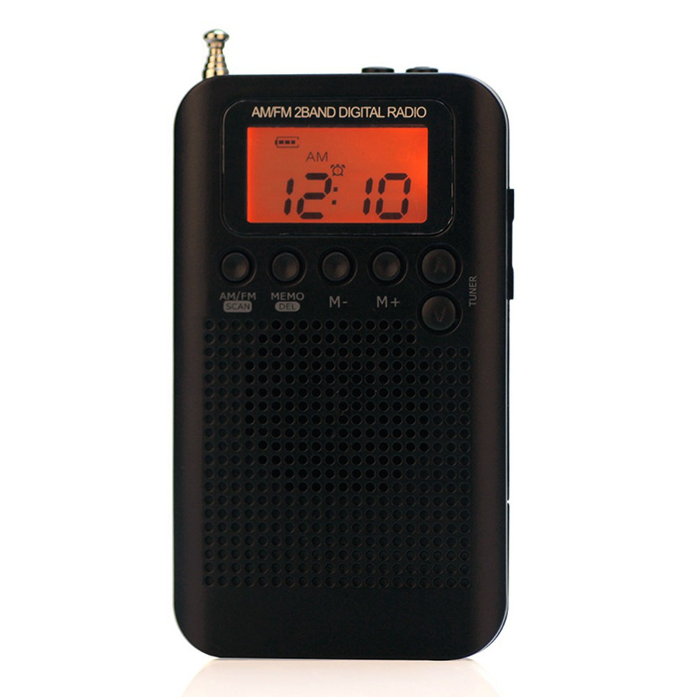 Mini AM FM Radio Digital Portable Pocket Stereo Receiver Clock with Headphone