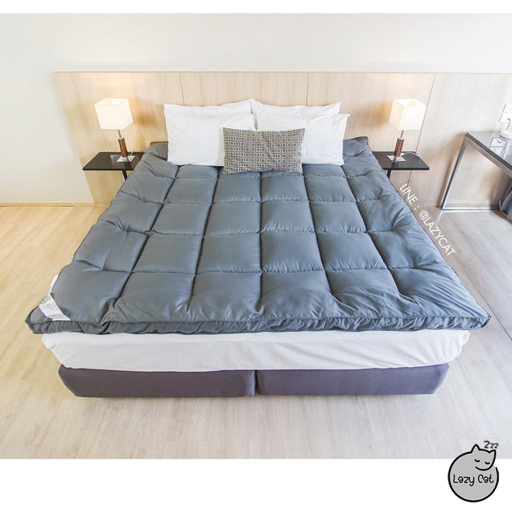 Topper ที่นอนทอปเปอร์ หนานุ่ม  ฟูกที่นอน ที่นอนปิคนิค Bed Mattress Topper  - ข้องแท้ สีเทา /  มี 3 ขนาด / 3.5 ฟุต / 5 ฟุ