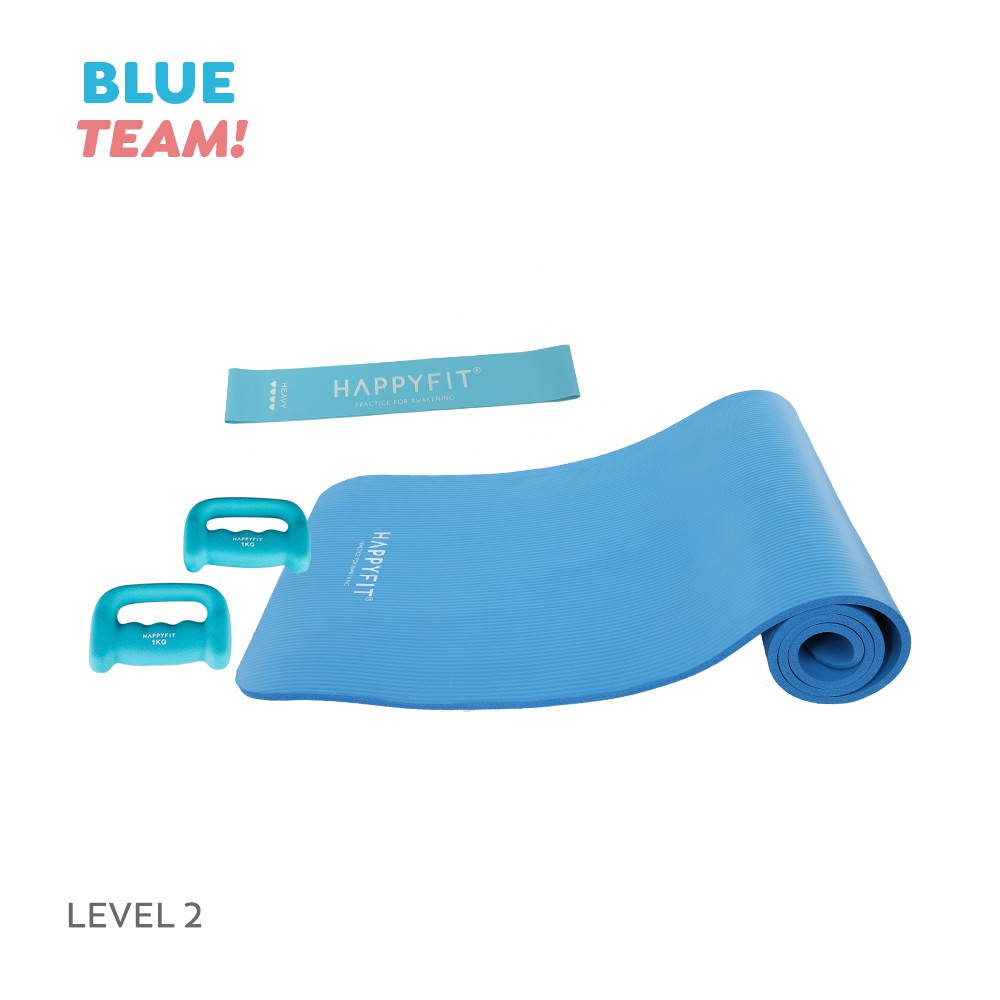 Happyfit Bundling Blue Team - Level 2 (yoga Mat / ยางยืดรัด) อุปกรณ์ออกกําลังกาย