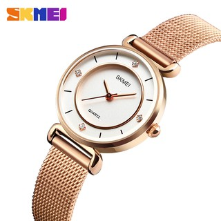 SKMEI Official Rose Gold Stainless Steel Mesh Band Lady Watch Women Elegant Silver Gold Watches Diamond Style