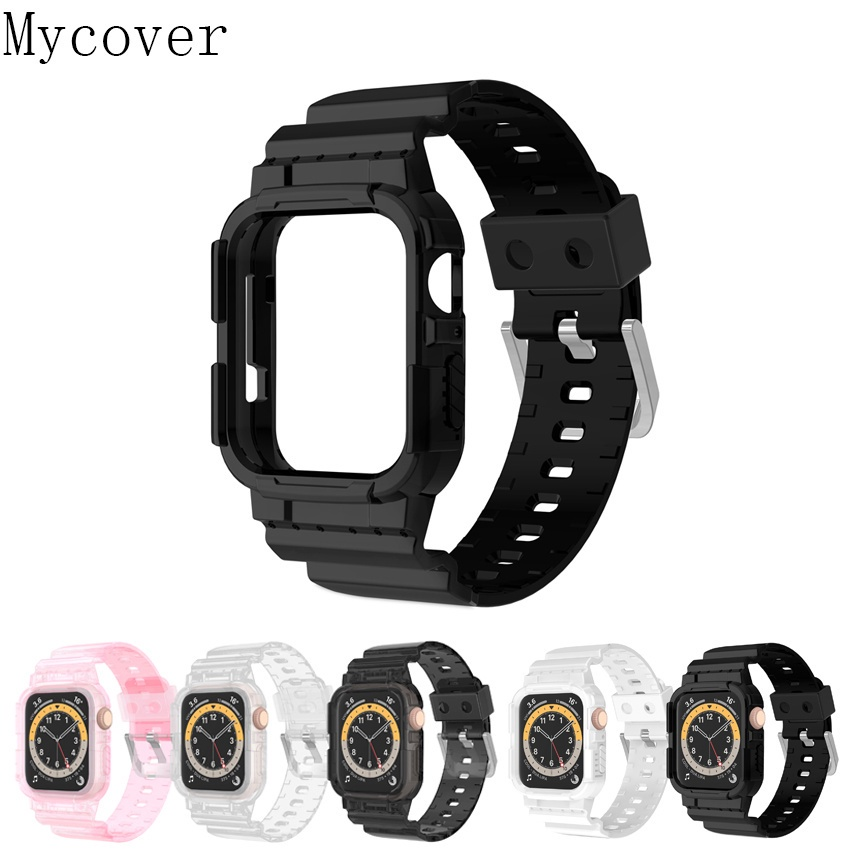 Newest Transparent Sport Case + Strap for Apple Watch Series SE 6 5 4 3 2 1 Silicone Clear for iWatch Band 38mm 40mm Glacier Limited Edition Silicone T500 Cover Strap