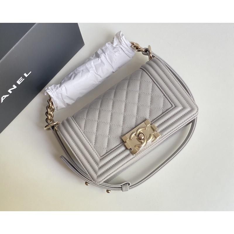 "new Chanel boy 8"" เทา ghw caviar microchip"