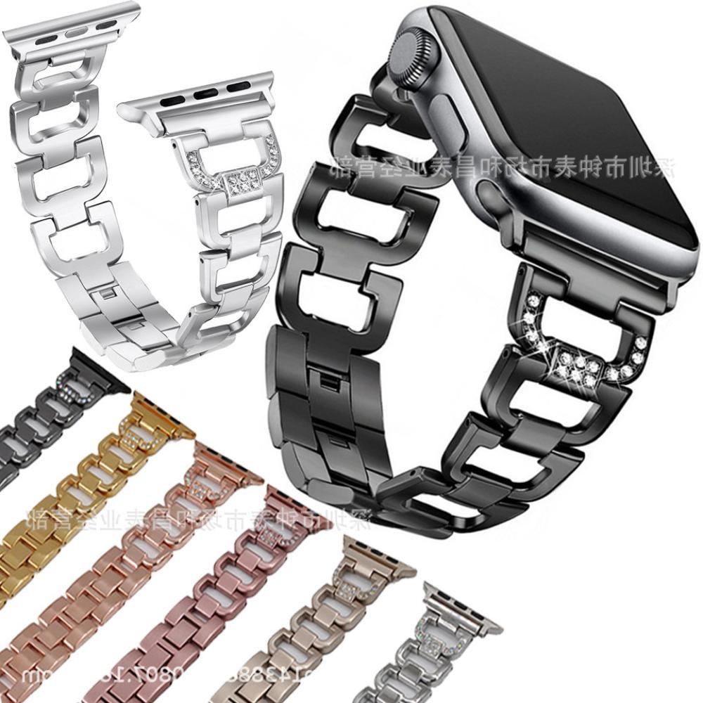 เหมาะสำหรับสายนาฬิกา Applewatch เพชรหัวเข็มขัดรูปตัว D สายนาฬิกาสแตนเลส iWatch 3 รุ่น