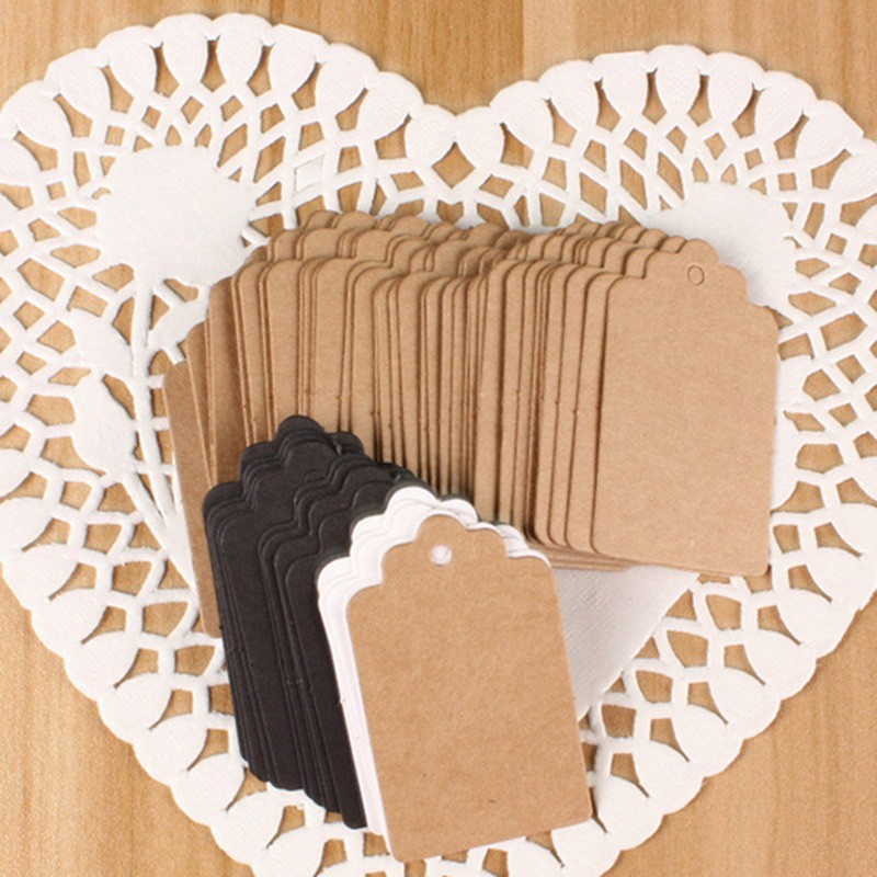 Lot of 100pcs Kraft Paper Gift Card Tags Blank Label Wedding Party Luggage Tags