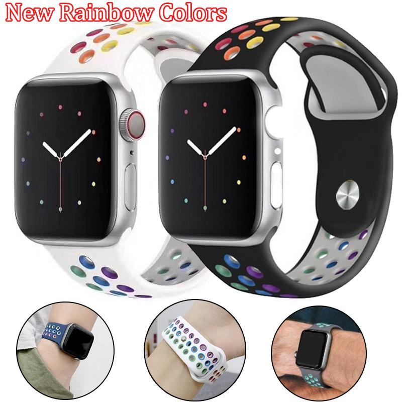 สายนาฬิกาข้อมือ สาย Apple Watch ซีรีส์ 5 4 3 2 1 42 มม. 44 มม. 40 มม.38 มม. applewatch band iWatch รุ้ง strap 40mm 44mm 42mm 38mm Silicone Soft Series 5/4/3/2/1