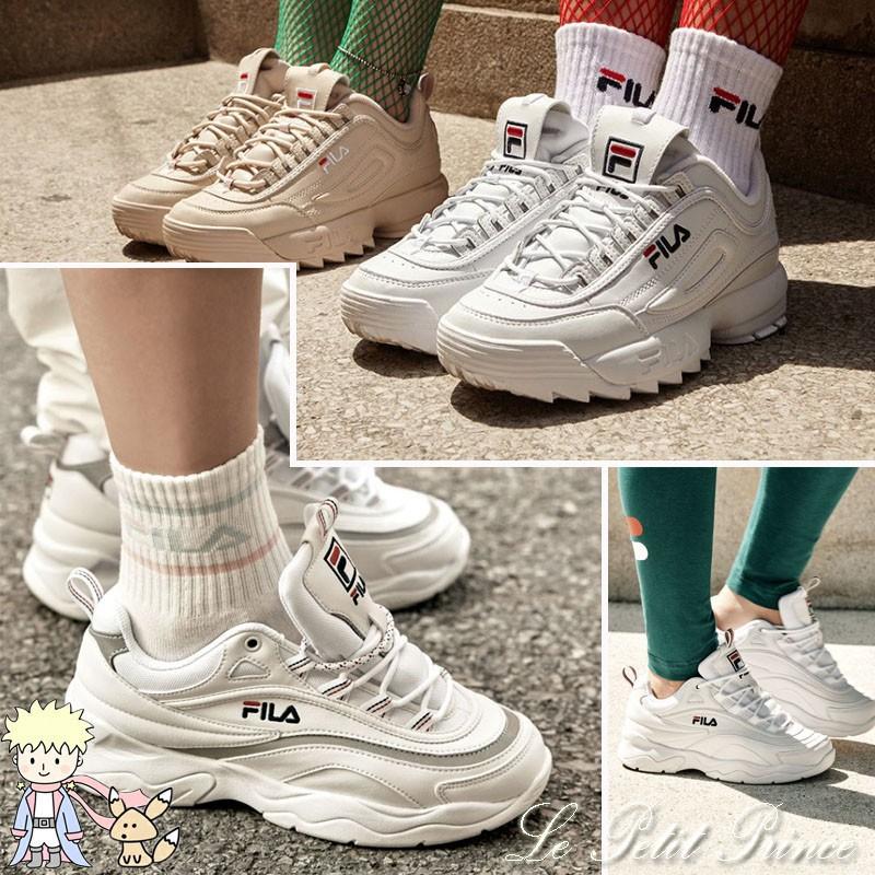รองเท้าวิ่งของ FILA รองเท้ากีฬา Fila ray รองเท้าหนาลูกไม้ย้อนยุครองเท้าลำลอง
