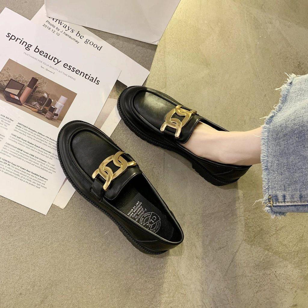 รองเท้าคัชชู ร้องเท้า รองเท้าผู้หญิง ⚘รองเท้าเด็ก 2021 ใหม่รองเท้า Lefu สีดำ Yinglan ลมรองเท้าขนาดเล็กป่าเวอร์ชั่นเกาหลี