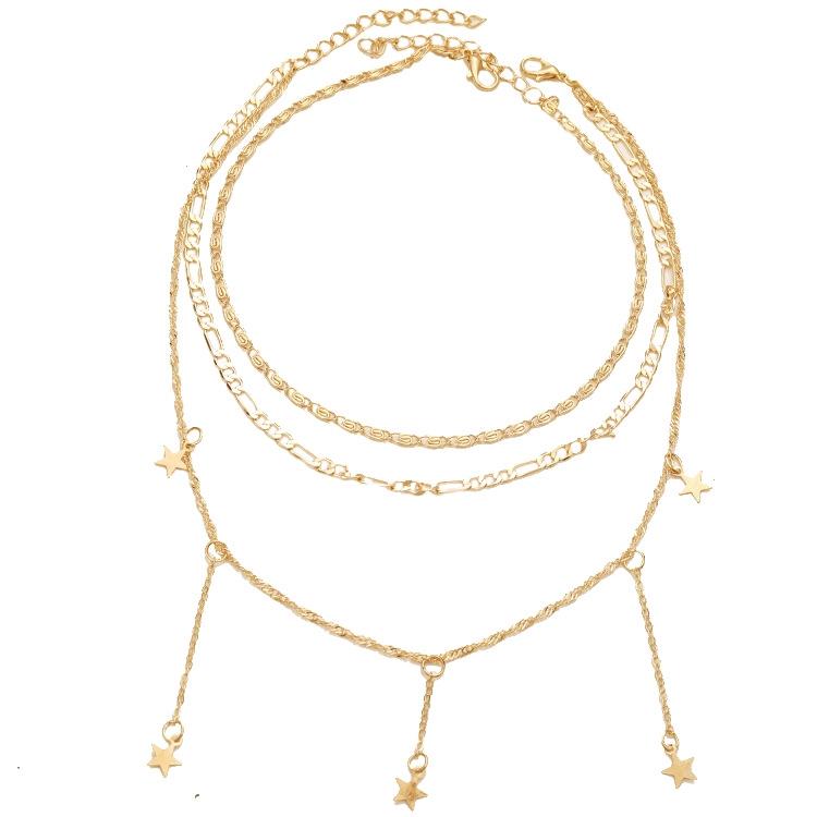 【ราคาส่ง】Europe Pentagram พู่ bohemianทองสร้อยคอแฟชั่นหลายชั้นสำหรับผู้หญิง