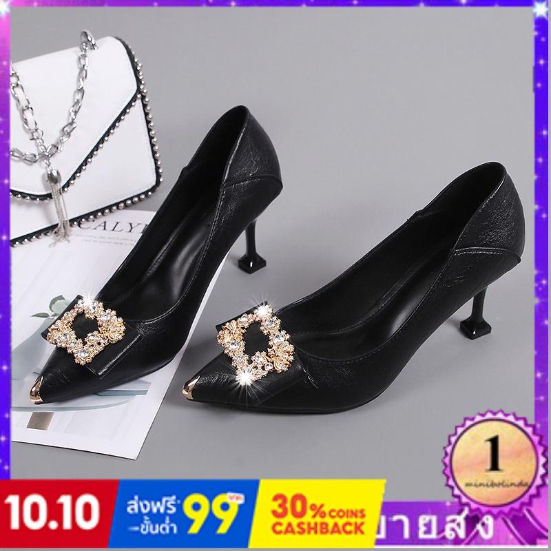 ⭐👠รองเท้าส้นสูง หัวแหลม ส้นเข็ม ใส่สบาย New Fshion รองเท้าคัชชูหัวแหลม  รองเท้าแฟชั่นสีแดงตกแต่งรองเท้าผู้หญิงหนังใหม่รอ
