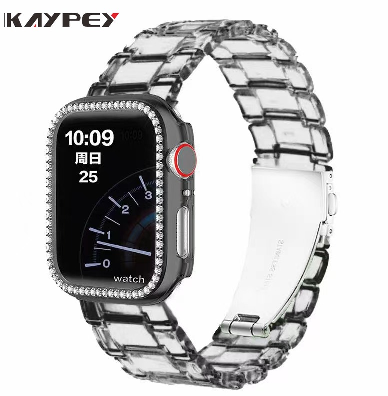 10 colors 1 set clear Strap for Apple Watch +Shiny Diamond Protective PC Case for Apple Watch 38mm 40mm 42mm 44mm iWatch