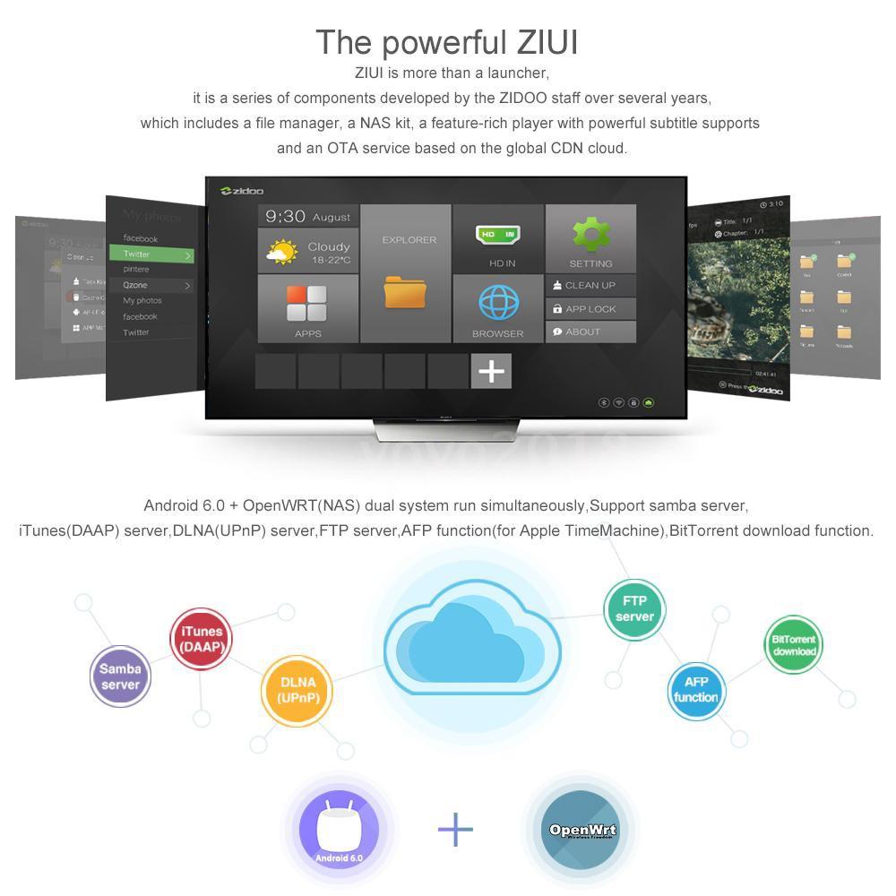 กล่องทีวี ZIDOO X 9 S Smart Android TV Box Android 6 0 openwrt ( NAS )