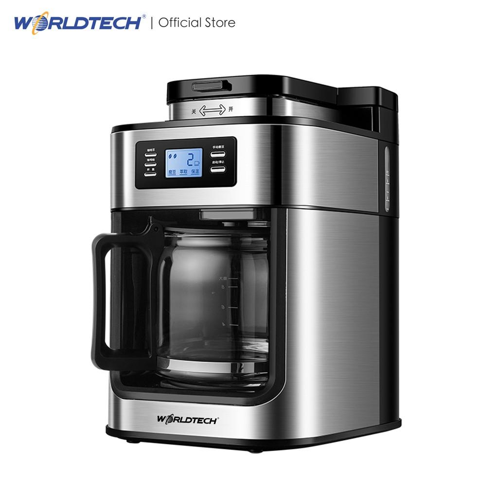 Worldtech เครื่องชงกาแฟดริปอัตโนมัติ รุ่น WT-CM315T เครื่องบดกาแฟ เครื่องทำกาแฟ เครื่องบดเมล็ดกาแฟอัตโนมัติ 1050 วัตต์