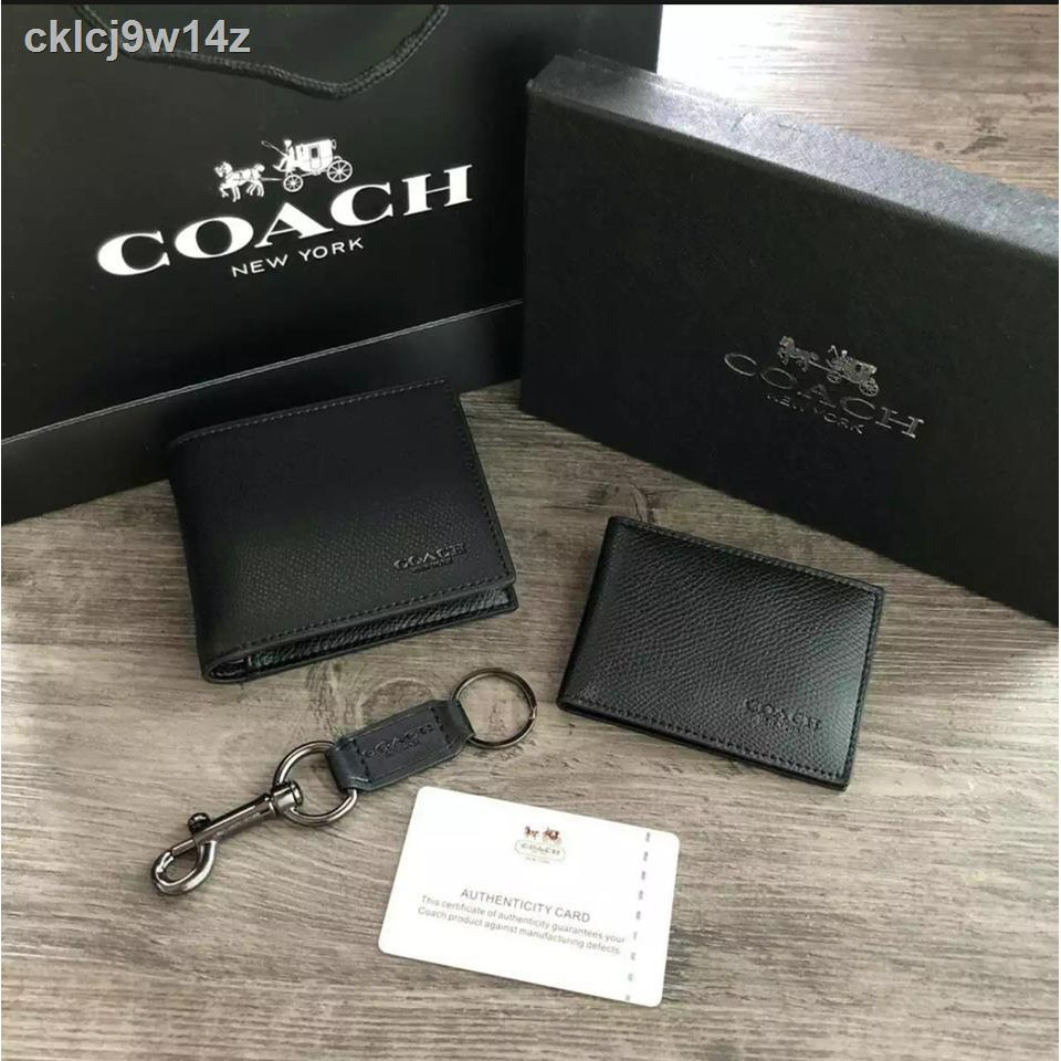 ✒☑COACH Compact ID In Crossgrain Leather with Key Set กระเป๋าสตางค์ใบสั้น(แท้outlet)