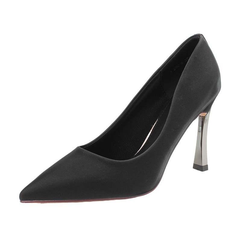 (มีสินค้า)รองเท้าคัชชูหัวแหลมสำหรับผู้หญิงรองเท้าส้นสูงรองเท้าส้นเข็มทุกคู่สำหรับนักเรียน