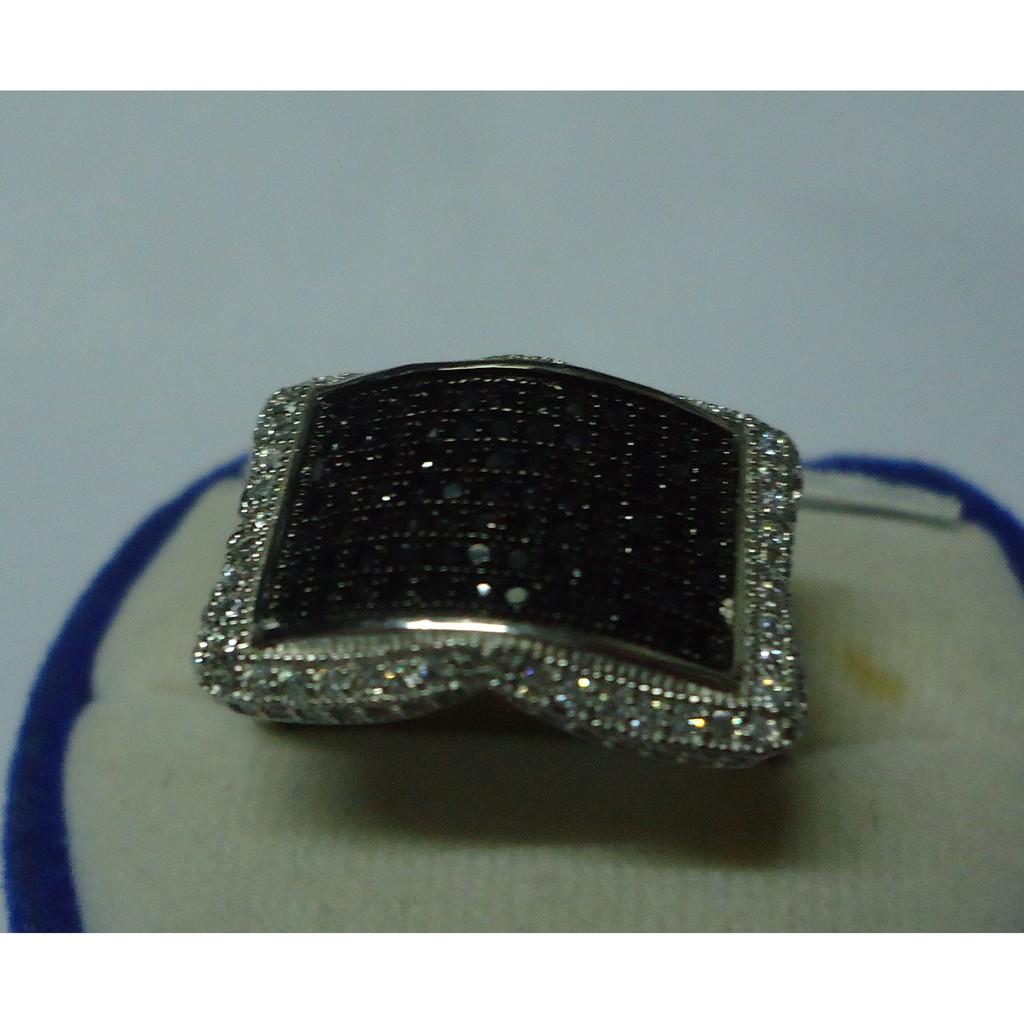 แหวนชายนิลดำแท้ล้อมเพชรสวีสตัวเรือนเงิน925เคลือบทองคำขาวสวยงามไซย์แหวน62และ58 ปรับขนาดได้ฟรี