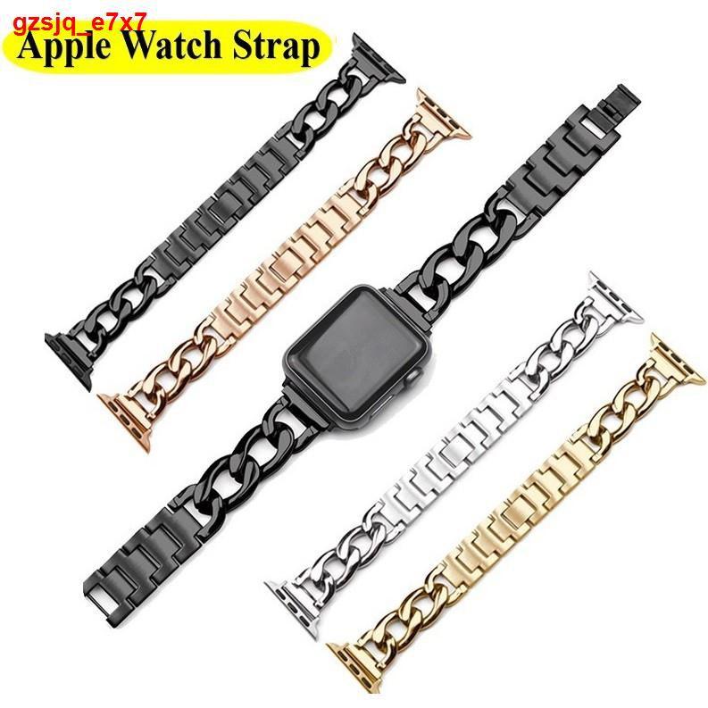 【โปรโมชั่นระเบิด】Luxury Chain สายนาฬิกา Apple Watch Straps เหล็กกล้าไร้สนิม สาย Applewatch Series 6 5 4 3 2 1, SE Sta