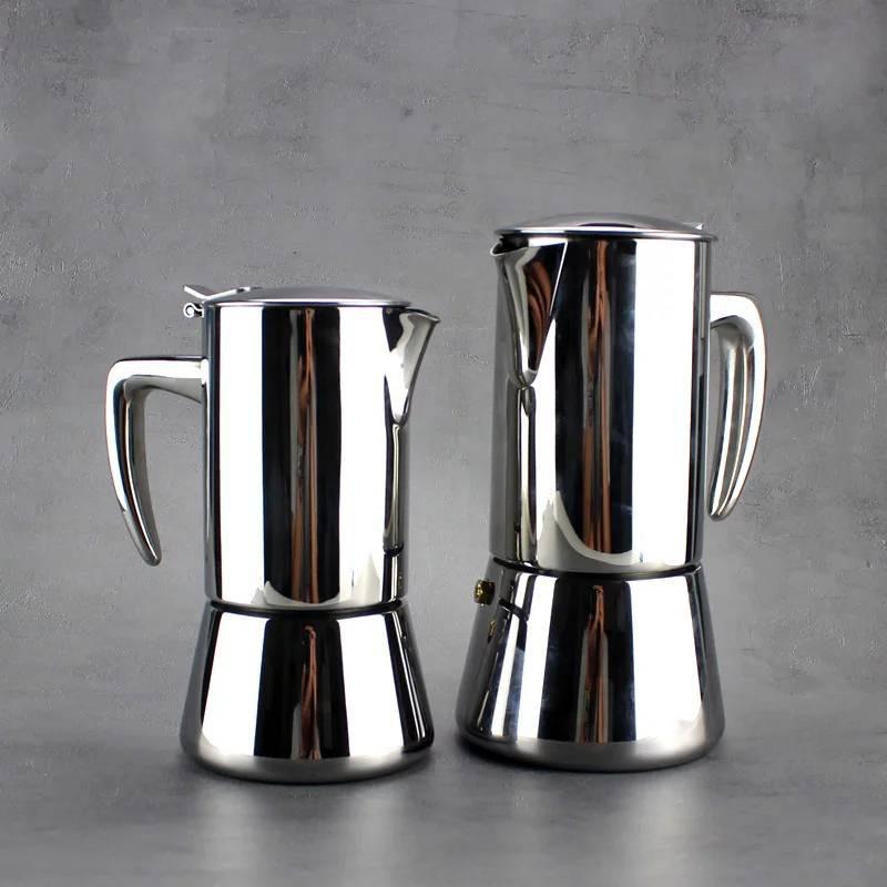 กาต้มกาแฟสดสแตนเลส สีเงิน เครื่องชงกาแฟสด แบบปิคนิคพกพา ใช้ทำกาแฟสดทานได้ทุกที