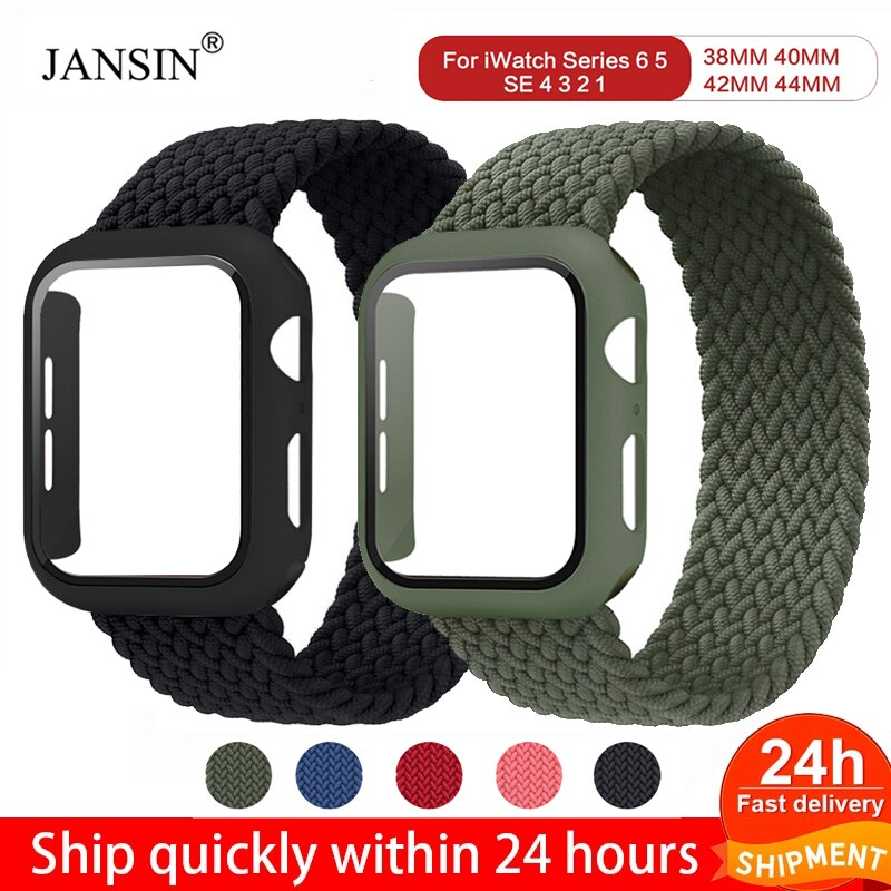 Glass case + woven single ring Apple watch 42mm 38mm wrist strap nylon elastic band Apple watch 44mm 40mm Iwatch iPhone