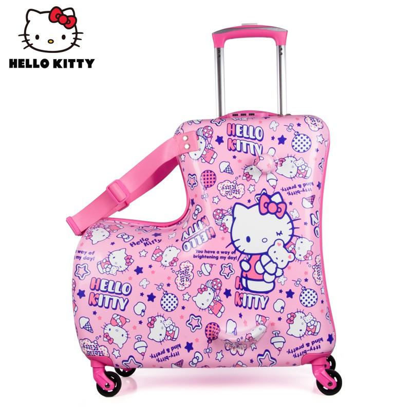 ◔∞กระเป๋าเดินทางเด็ก  กระเป๋ารถเข็นเดินทางกระเป๋าเดินทางล้อลากเด็ก hellokitty สามารถติดกระเป๋าเดินทางเด็กผู้หญิงการ์ตูนล