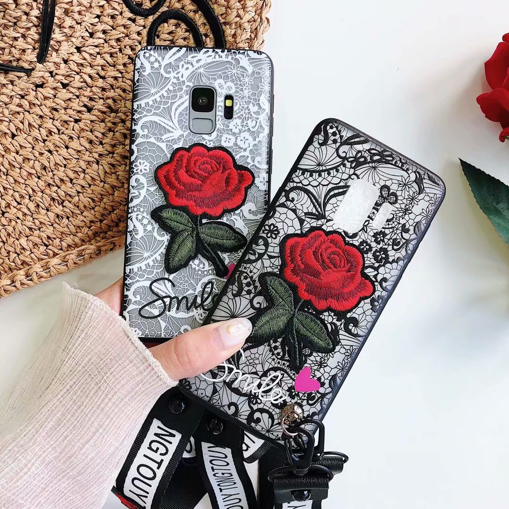 For Samsung Galaxy J8 J4+ J6+ A6 A8 S9 Plus J2 Pro 2018 Case 3D Lace Rose Flower Cover