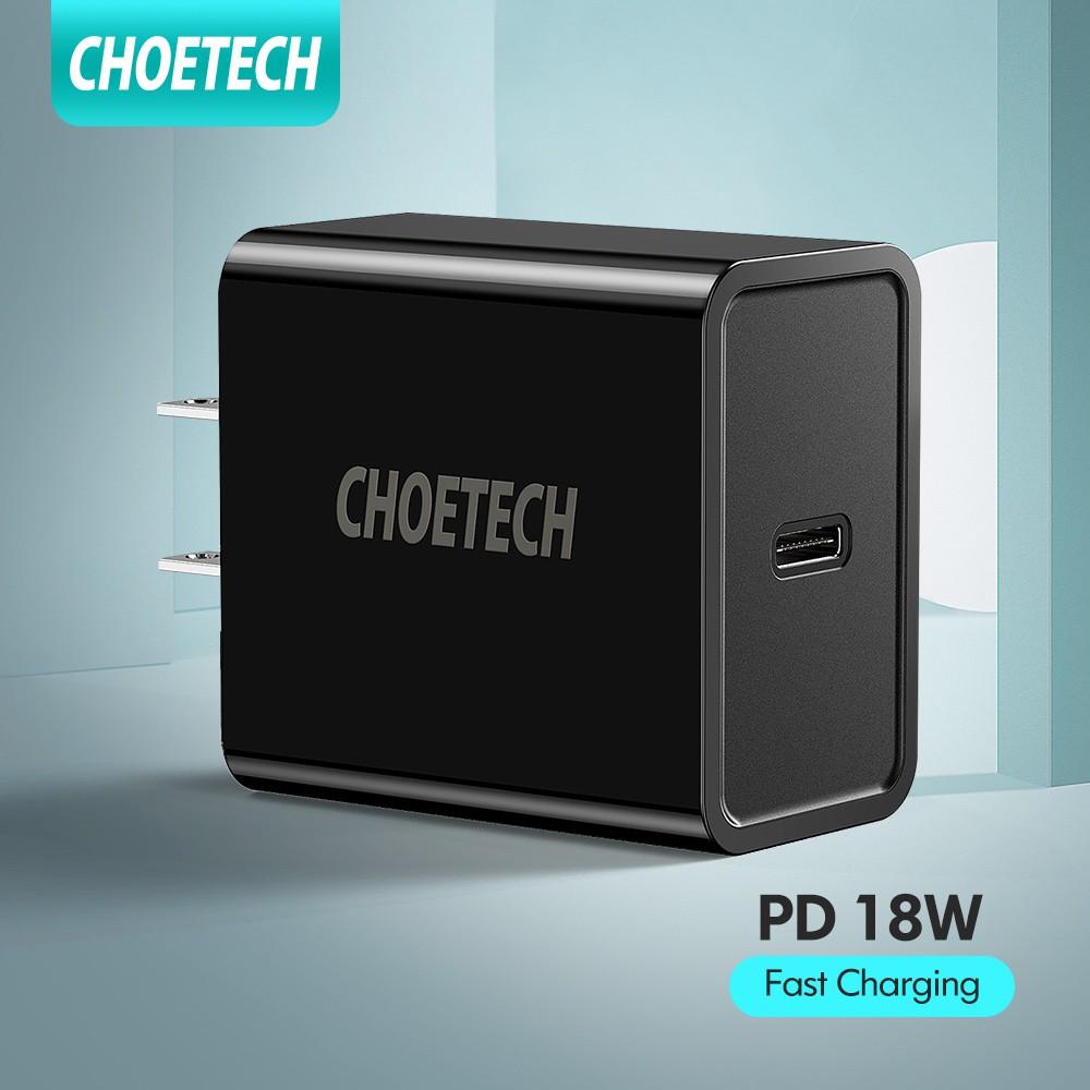 CHOETECH ปลั๊กหัวชาร์จเร็ว USB C Charger 18W Type C USB-C อะแดปเตอร์ iPhone iPad Pro galaxy Google Pixel 3/3 XL