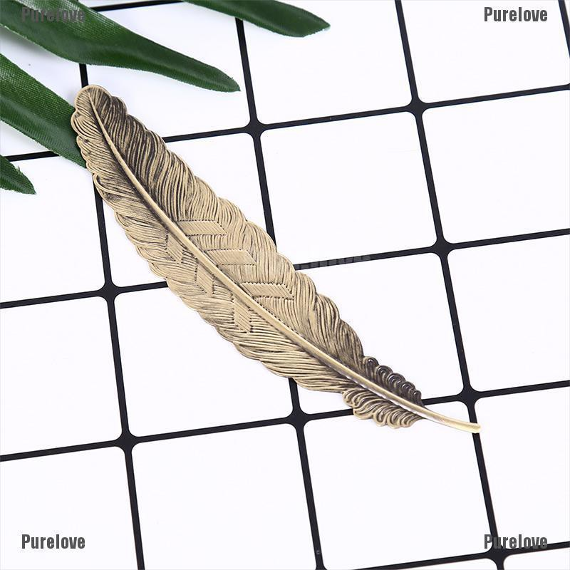 Purelove❥ Antique Leaves Feather Shaped Metal Bookmark For Books Office School Gift