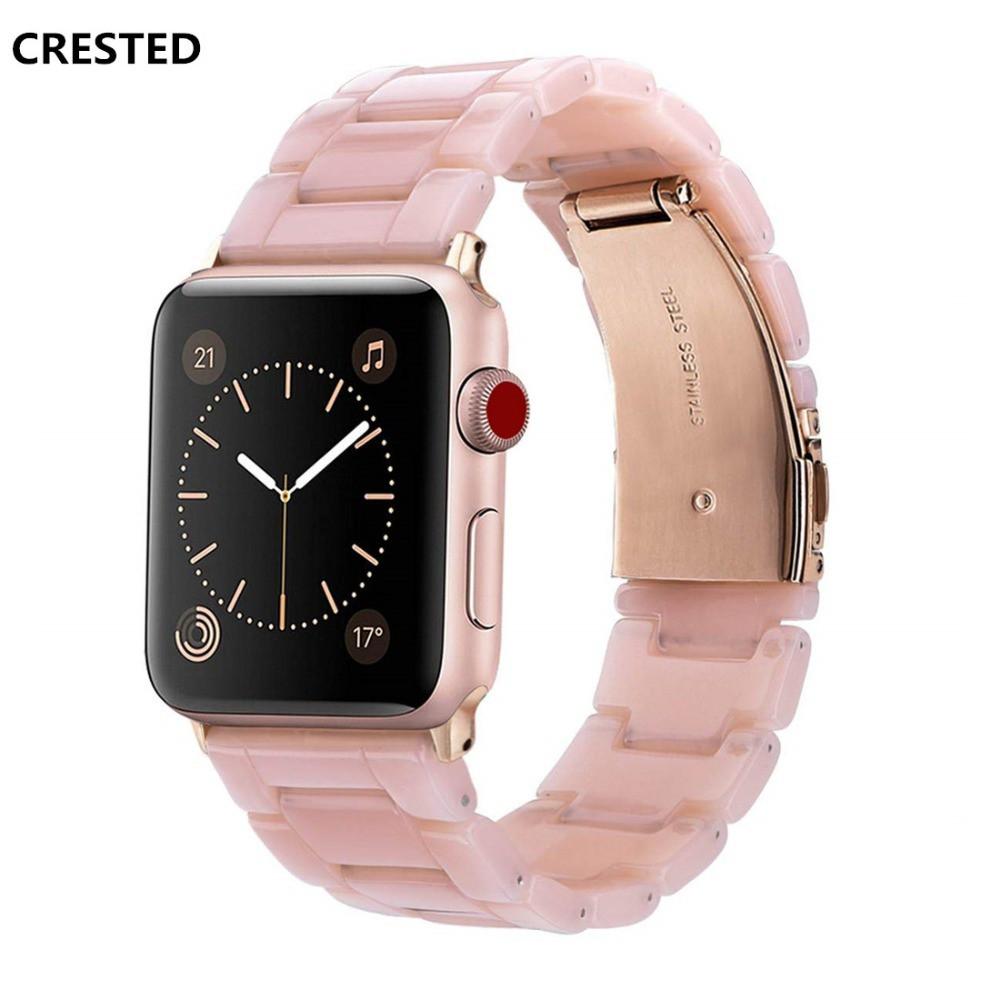 สายนาฬิกาข้อมือสแตนเลสสตีลเรซิ่นสําหรับ Apple Watch 4 Band 44 มม. 40 มม. Iwatch Series 5 4 3 2 1