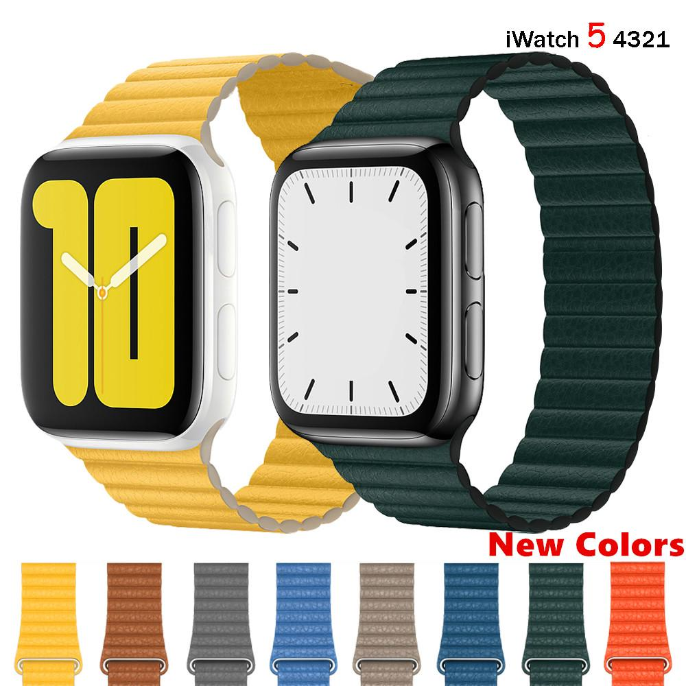 สายนาฬิกาข้อมือหนังสําหรับ Apple Watch Band 44 มม . 40 มม . Iwatch Band 42 มม . 38 มม . สําหรับ Apple Watch Series 5 4 3 42 44 มม .