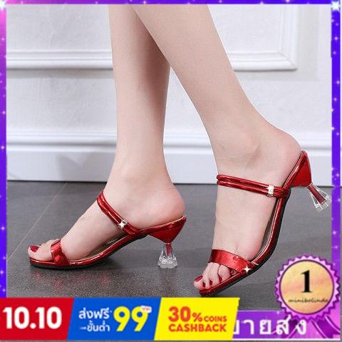 ⭐👠รองเท้าส้นสูง หัวแหลม ส้นเข็ม ใส่สบาย New Fshion รองเท้าคัชชูหัวแหลม  รองเท้าแฟชั่นรองเท้าแตะผู้หญิงใหม่คริสตัลส้นสูงก