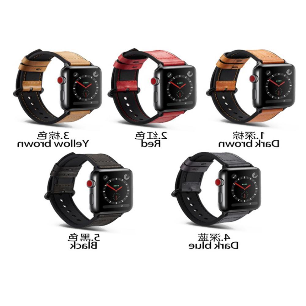 สำหรับ Apple ที่ใช้งานได้ Applewatch3 / 4/5/6 Crazy Horse Series นาฬิกาหนังซิลิโคนลามิเนตพร้อม Smart